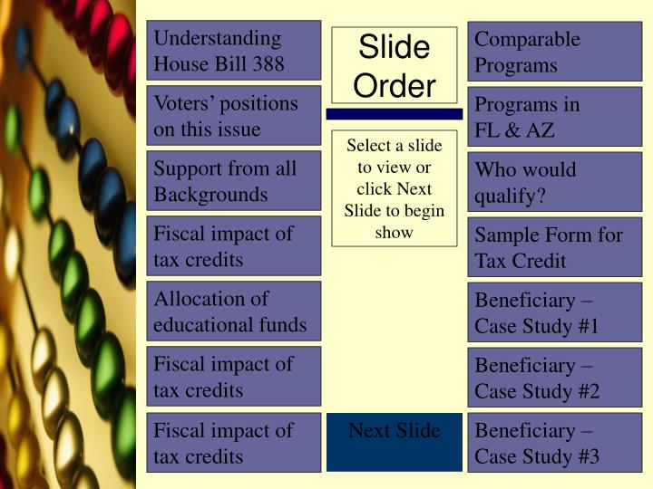 Slide order