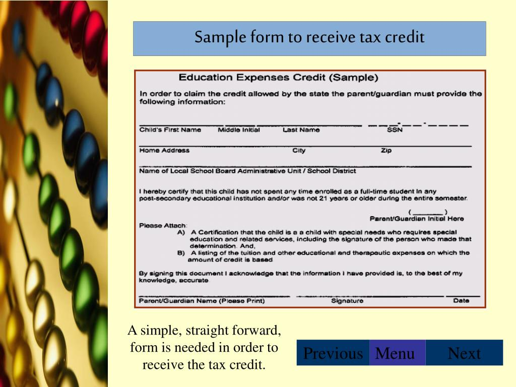 Sample form to receive tax credit