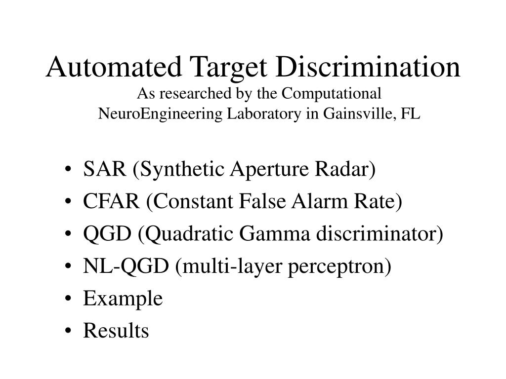 Automated Target Discrimination