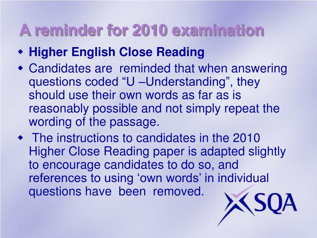 A reminder for 2010 examination
