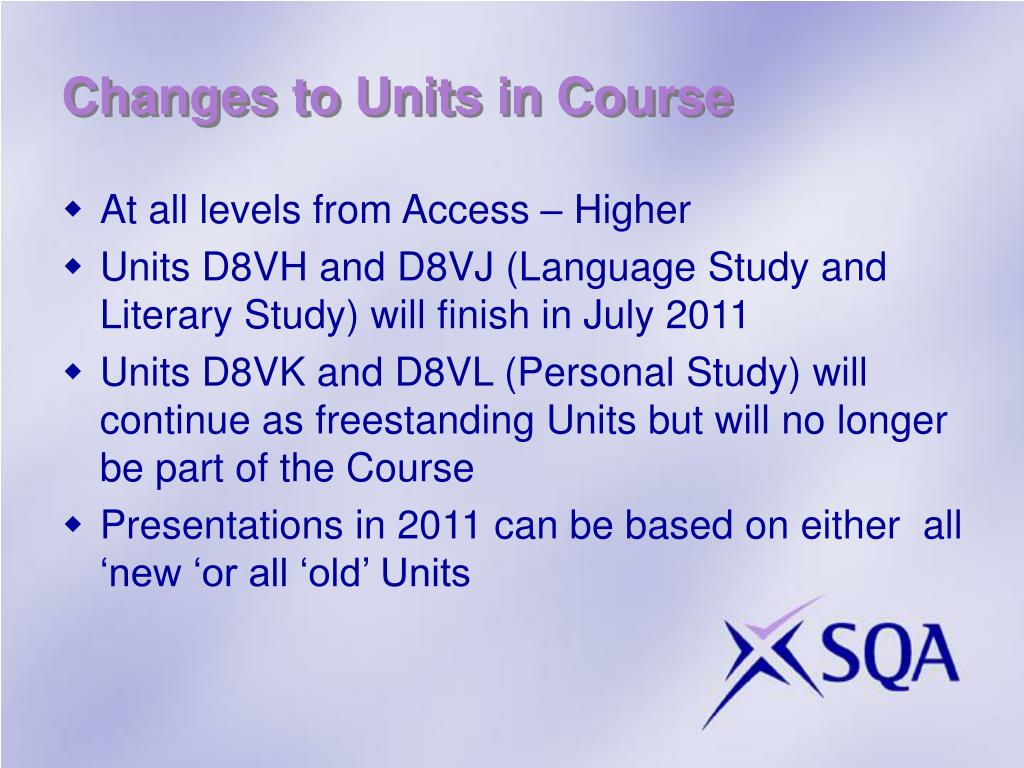 Changes to Units in Course