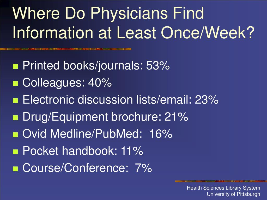 Where Do Physicians Find Information at Least Once/Week?