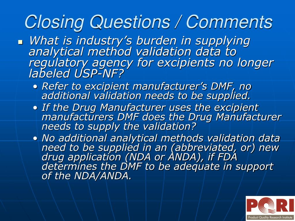 What is industry's burden in supplying analytical method validation data to regulatory agency for excipients no longer labeled USP-NF?