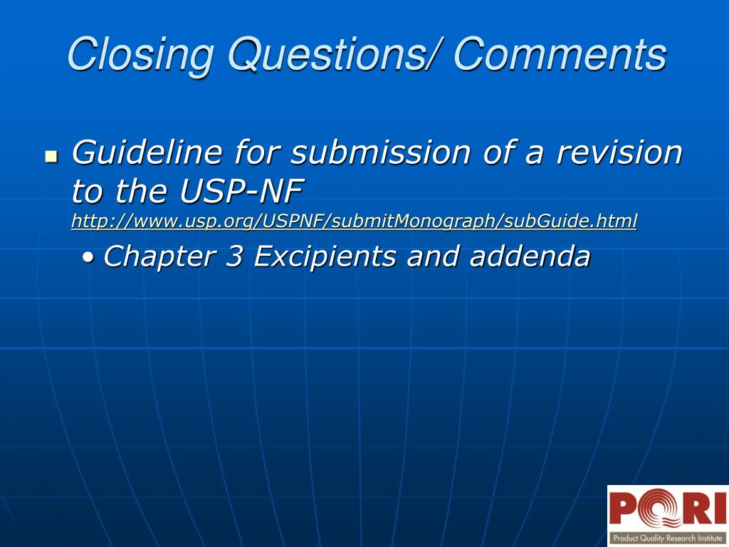 Guideline for submission of a revision to the USP-NF