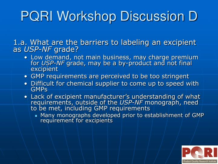 Pqri workshop discussion d