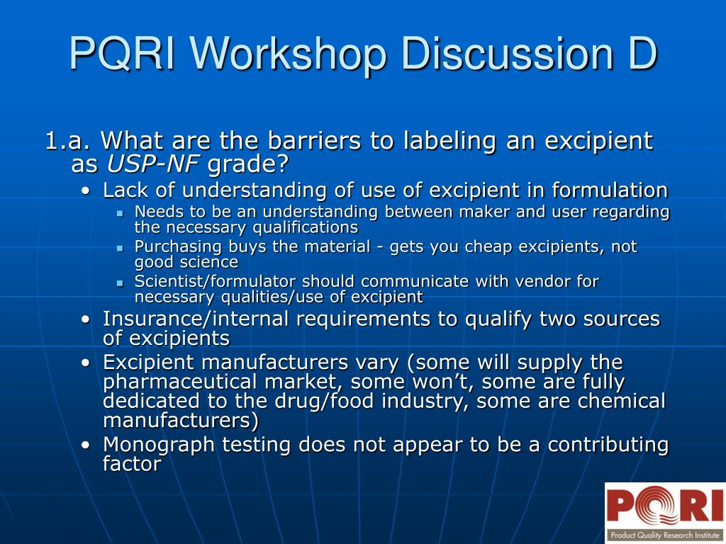 1.a. What are the barriers to labeling an excipient as