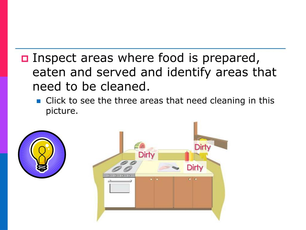 Inspect areas where food is prepared, eaten and served and identify areas that need to be cleaned.