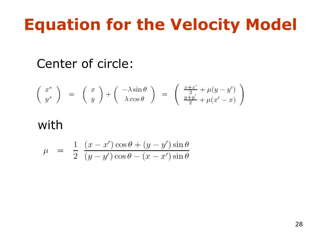 Equation for the Velocity Model