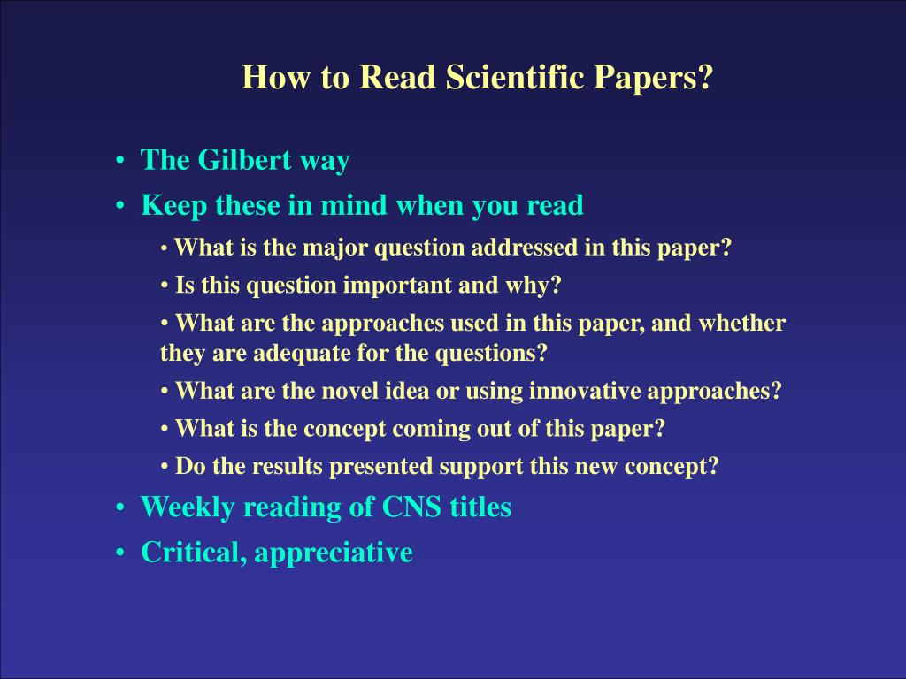 How to Read Scientific Papers?