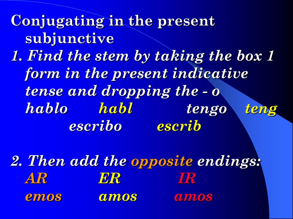 Conjugating in the present subjunctive