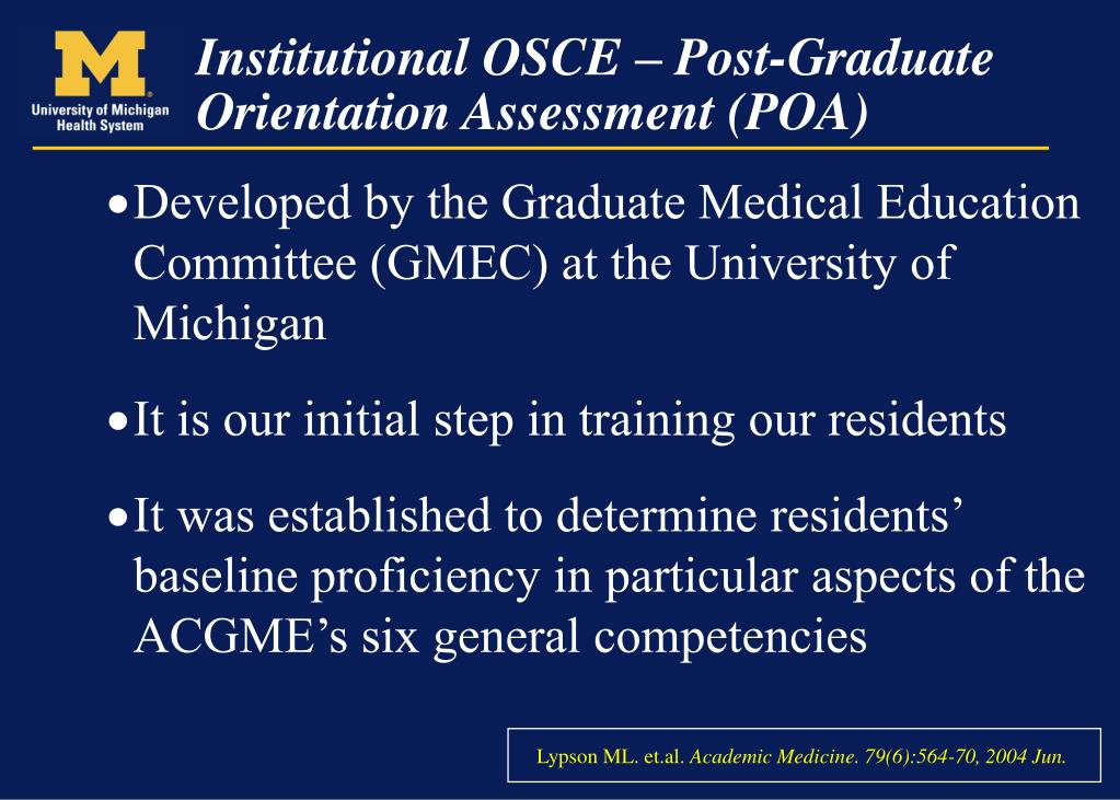 Developed by the Graduate Medical Education Committee (GMEC) at the University of Michigan