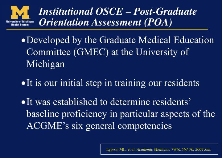 Institutional osce post graduate orientation assessment poa