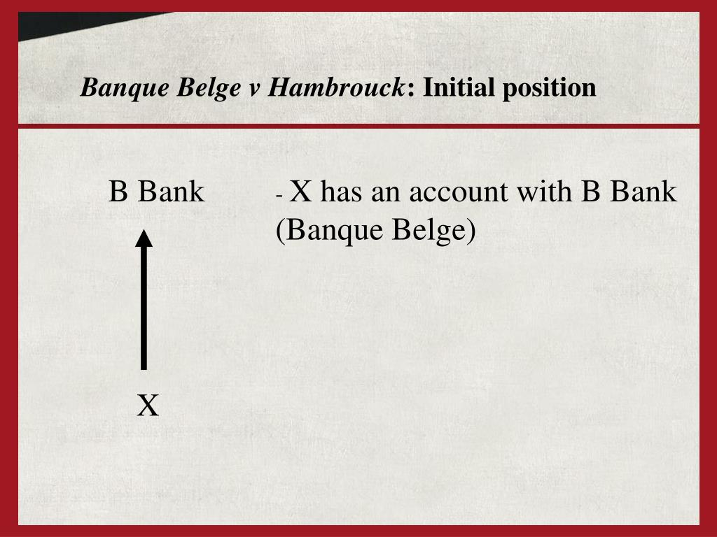 Banque Belge v Hambrouck