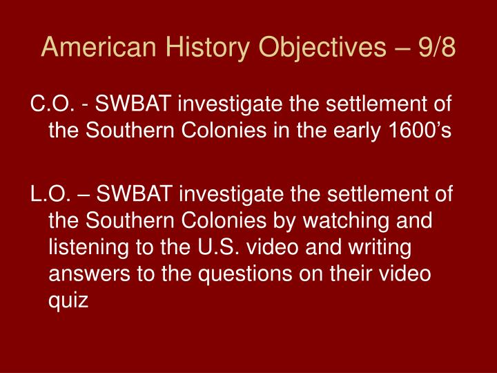american history objectives 9 8 n.