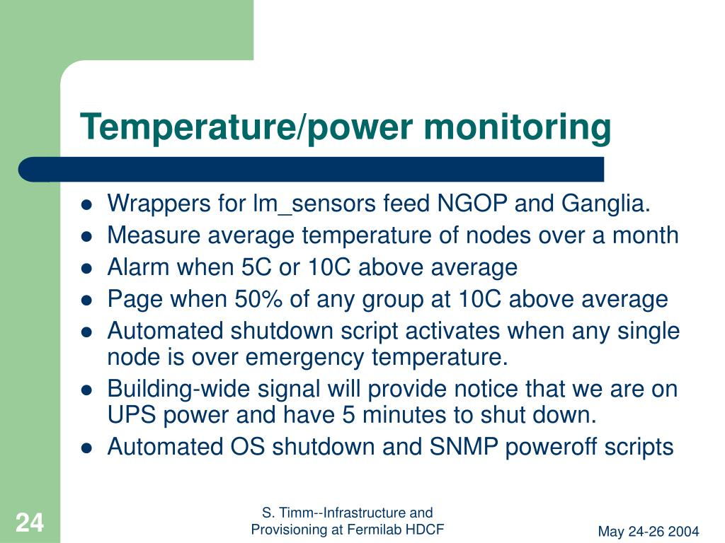 Temperature/power monitoring