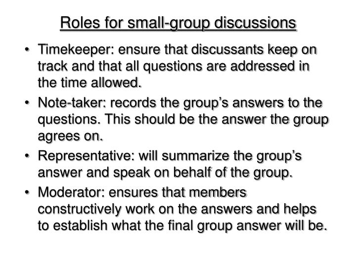 Roles for small group discussions