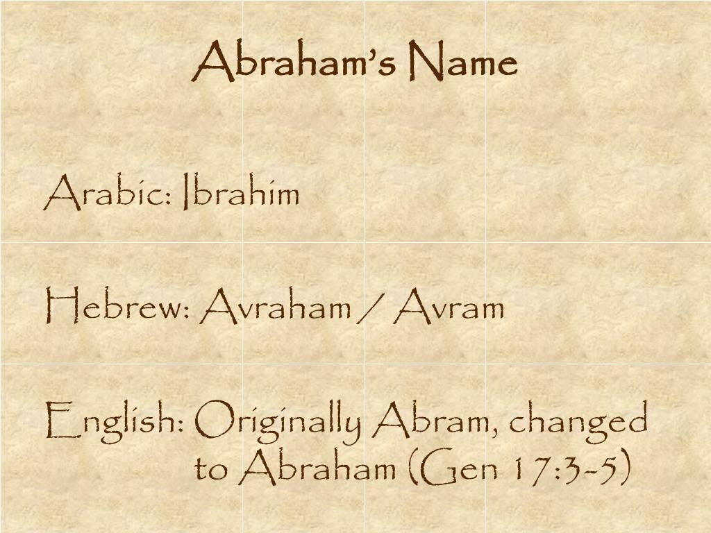 Abraham's Name