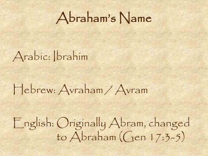 Abraham s name