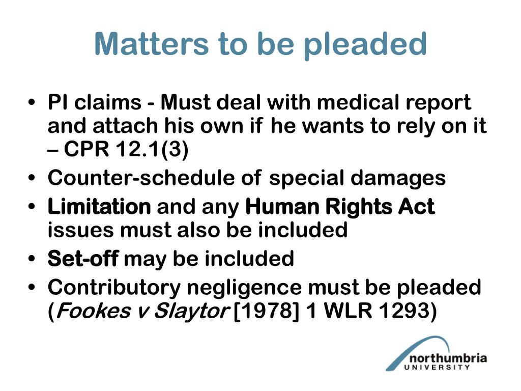 Matters to be pleaded