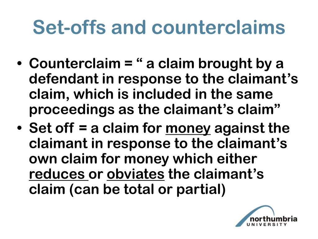 Set-offs and counterclaims
