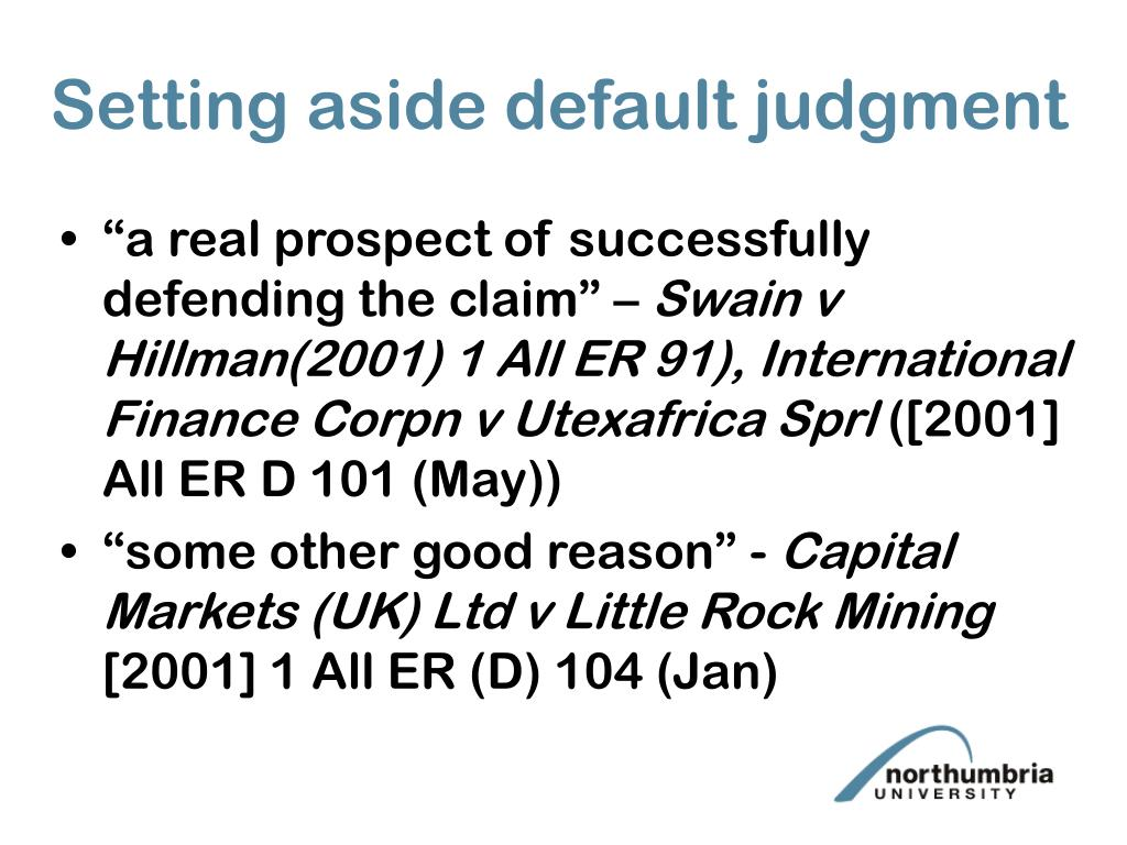 Setting aside default judgment