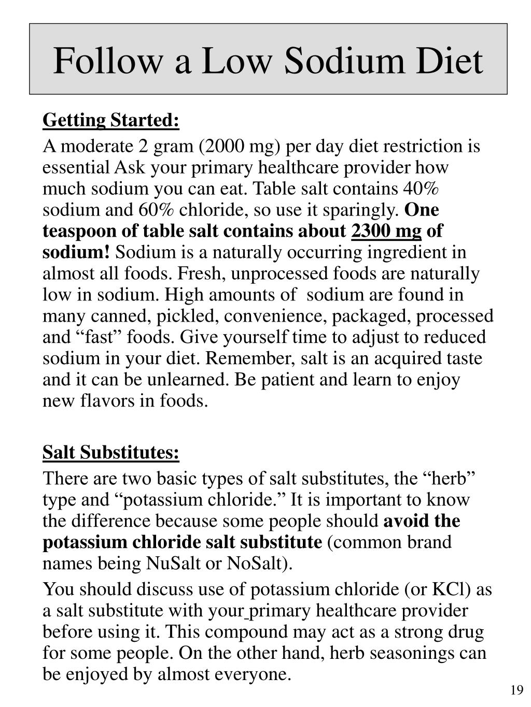 Follow a Low Sodium Diet