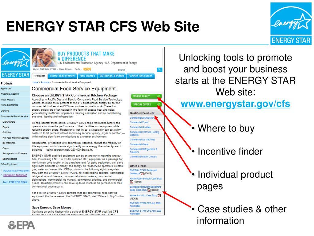 ENERGY STAR CFS Web Site