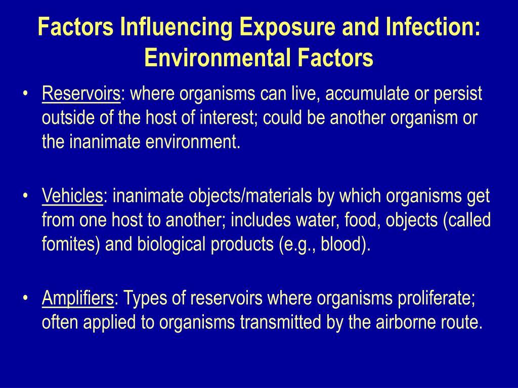 Factors Influencing Exposure and Infection: Environmental Factors