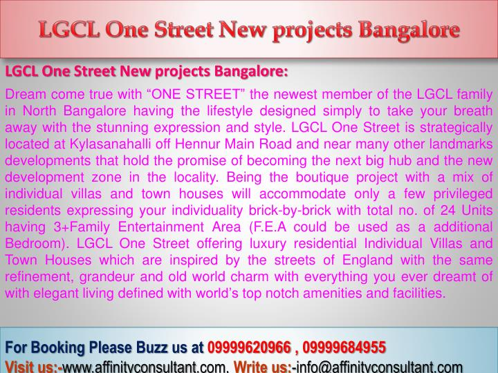 LGCL One Street New projects Bangalore