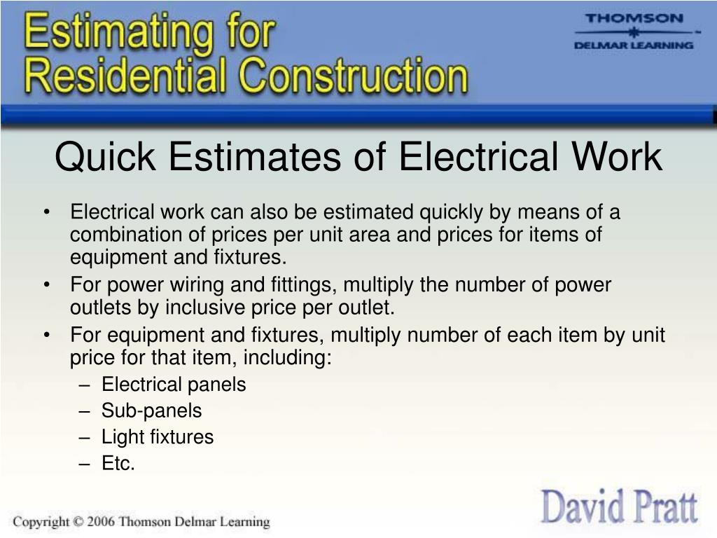 Quick Estimates of Electrical Work