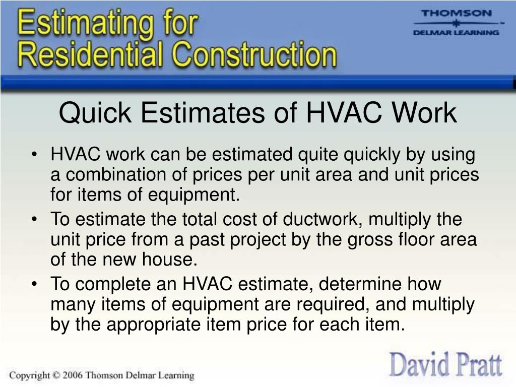 Quick Estimates of HVAC Work