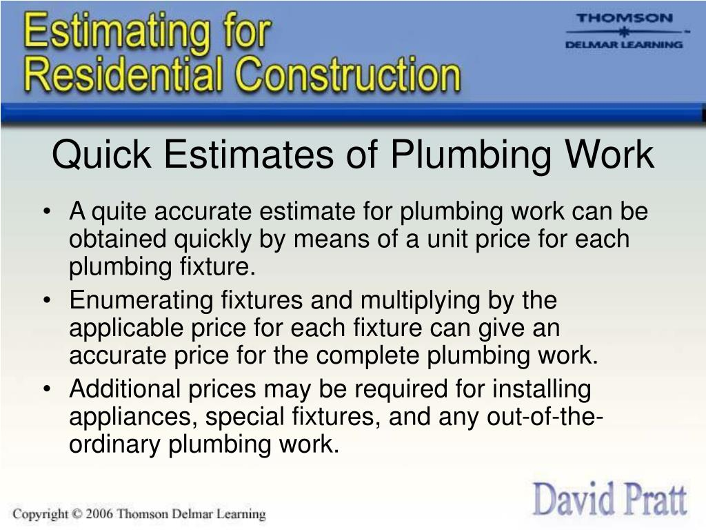 Quick Estimates of Plumbing Work