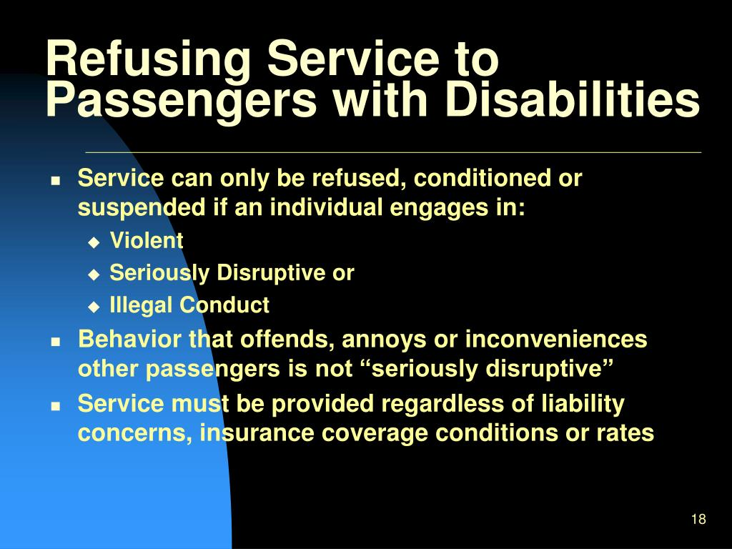Refusing Service to Passengers with Disabilities