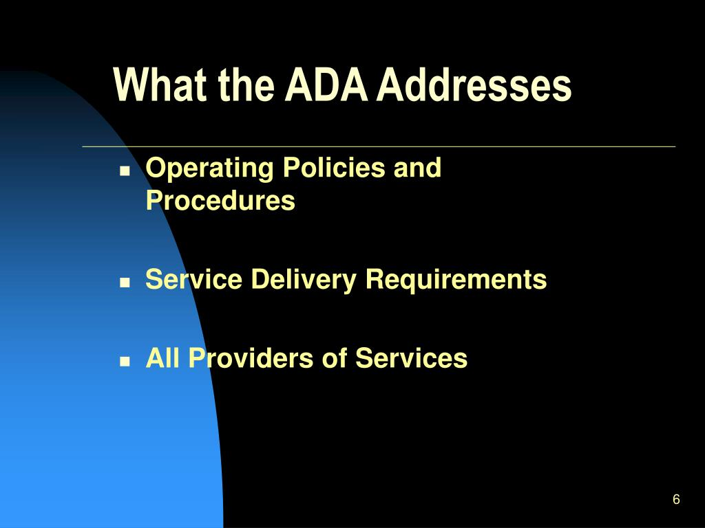 What the ADA Addresses