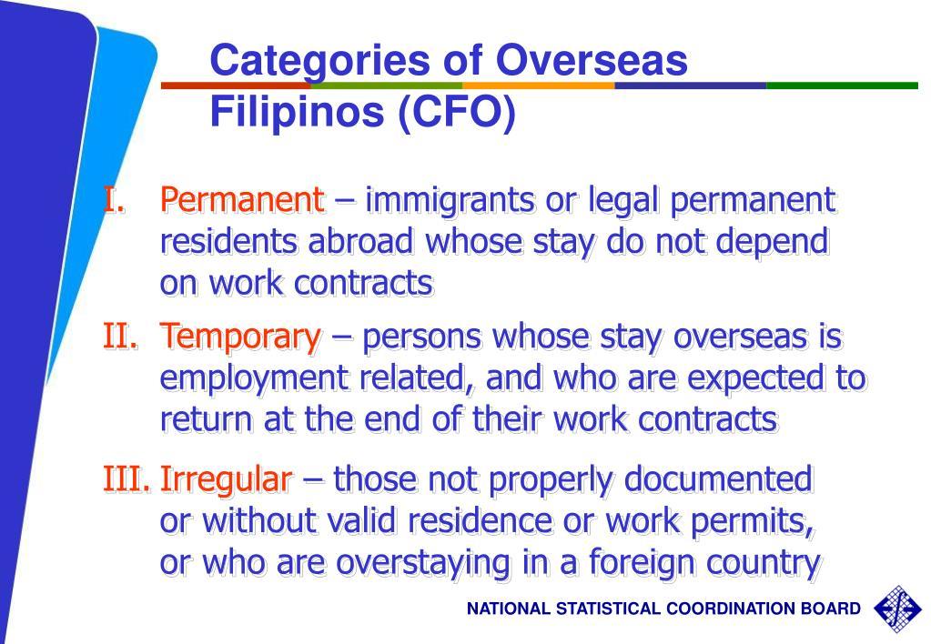 Categories of Overseas Filipinos (CFO)