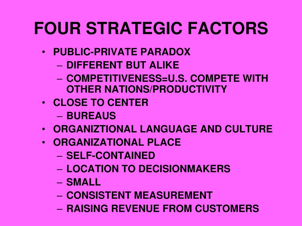 FOUR STRATEGIC FACTORS
