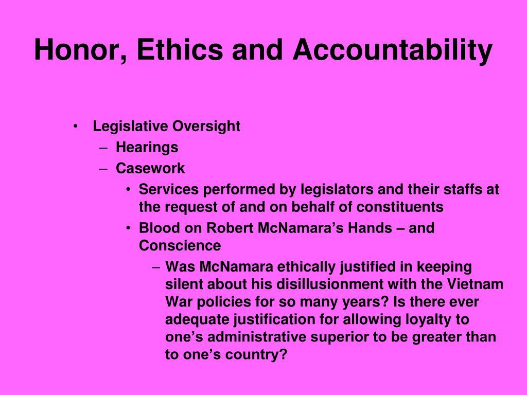 Honor, Ethics and Accountability