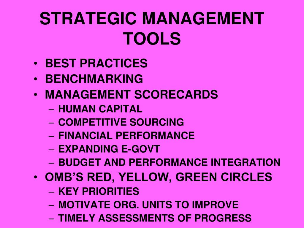 STRATEGIC MANAGEMENT TOOLS