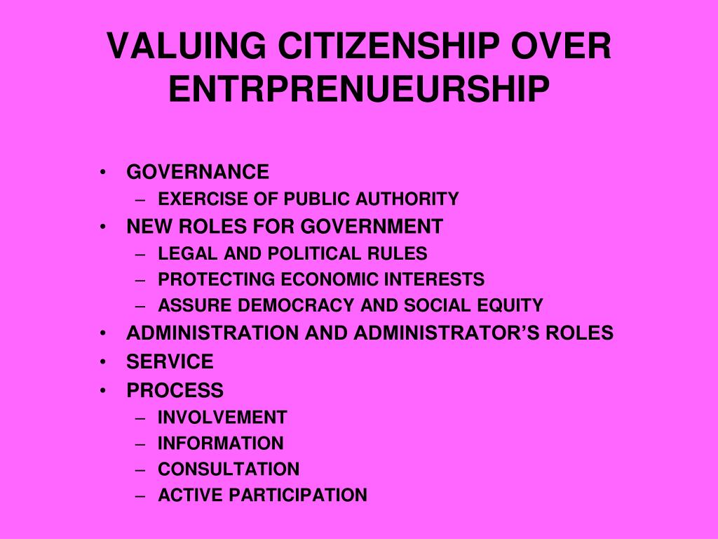 VALUING CITIZENSHIP OVER ENTRPRENUEURSHIP