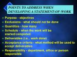 points to address when developing a statement of work