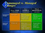 unmanaged vs managed changes