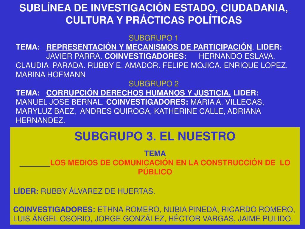 SUBLÍNEA DE INVESTIGACIÓN ESTADO, CIUDADANIA, CULTURA Y PRÁCTICAS POLÍTICAS