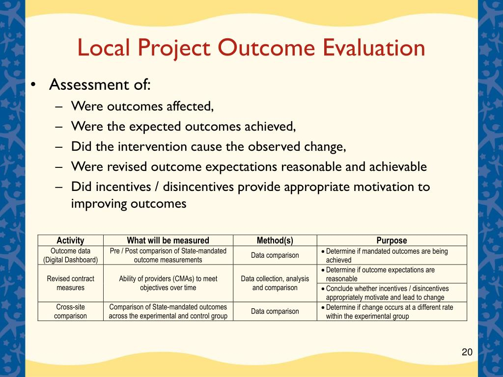 Local Project Outcome Evaluation
