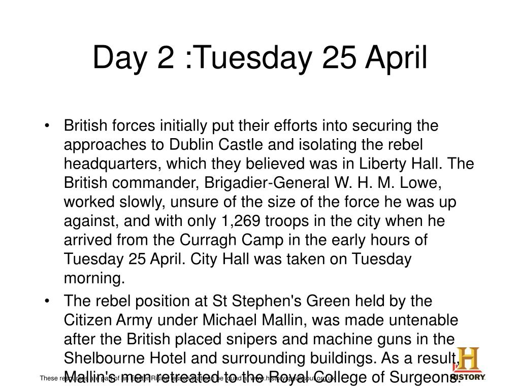 Day 2 :Tuesday 25 April