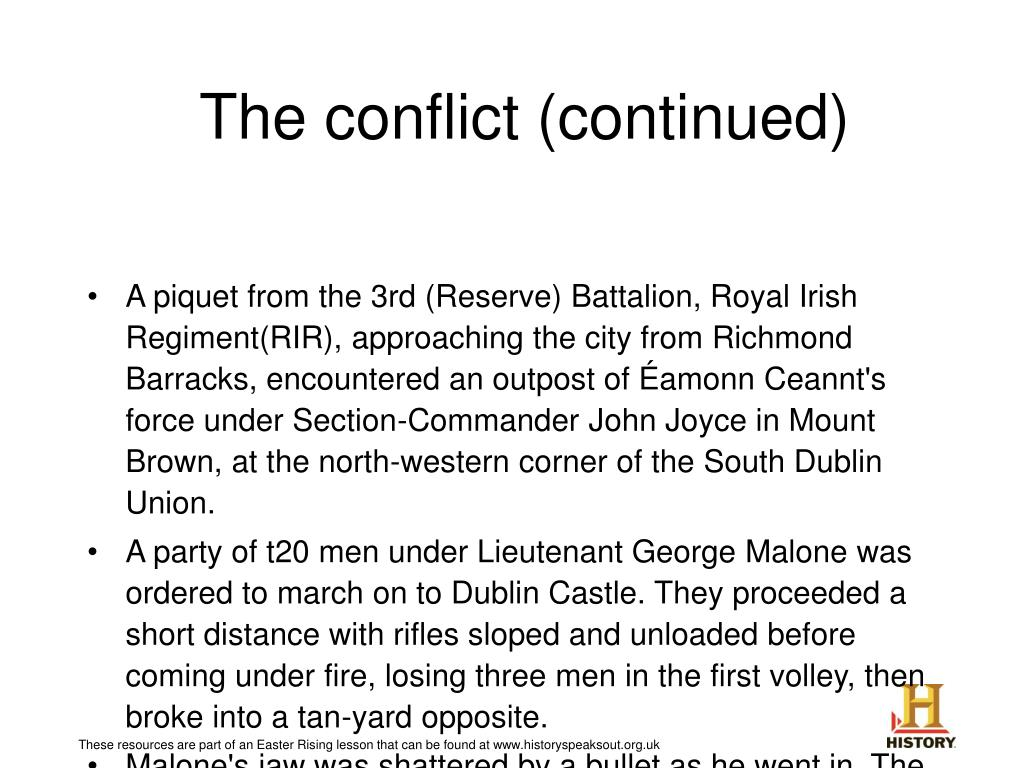 The conflict (continued)