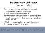 personal view of disease fear and control