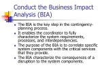 conduct the business impact analysis bia