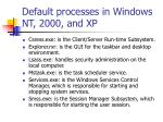 default processes in windows nt 2000 and xp
