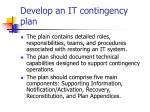 develop an it contingency plan