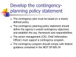 develop the contingency planning policy statement
